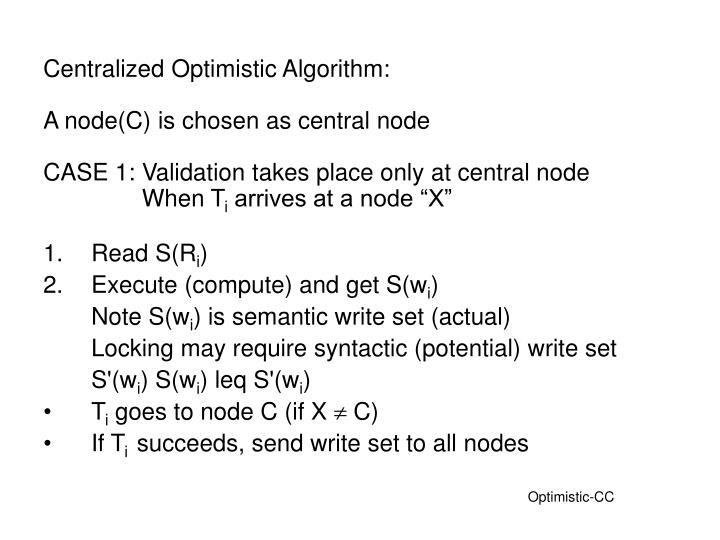 Centralized Optimistic Algorithm: