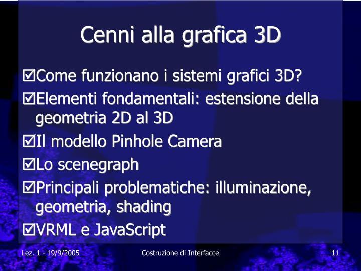 Cenni alla grafica 3D