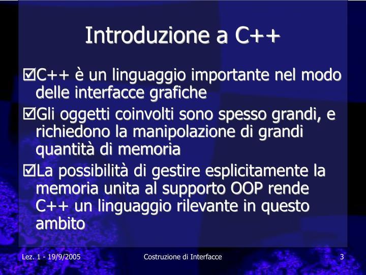 Introduzione a C++