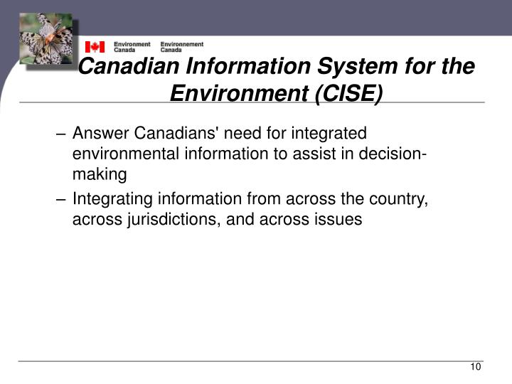 Canadian Information System for the Environment (CISE)
