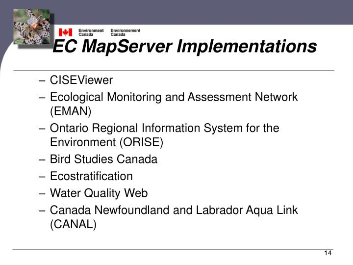 EC MapServer Implementations