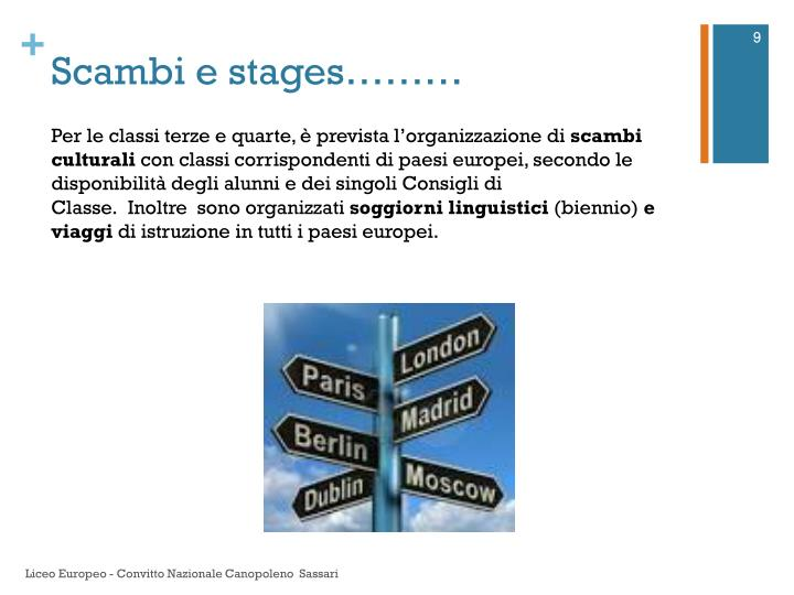 Scambi e stages………