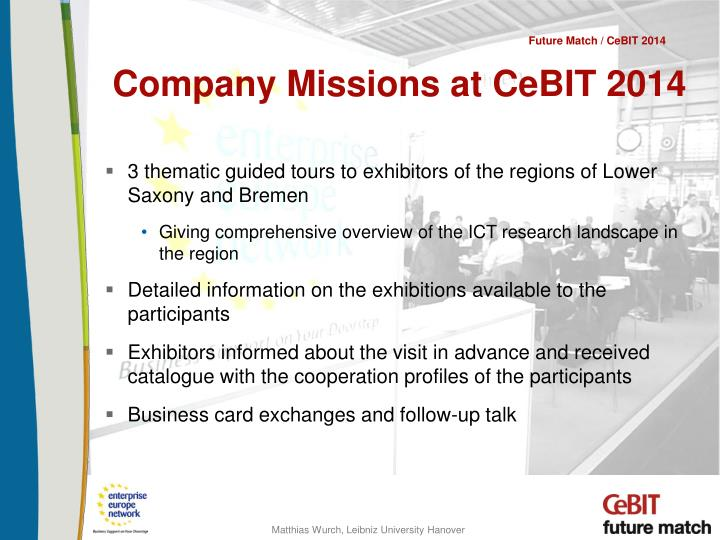 Company Missions at CeBIT 2014