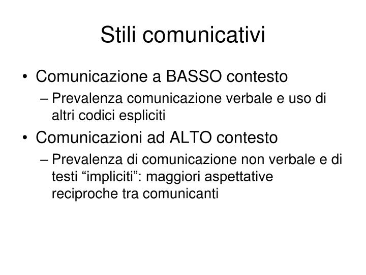 Stili comunicativi