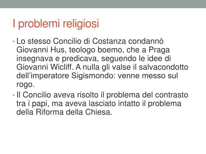I problemi religiosi