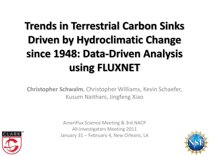 Trends in Terrestrial Carbon Sinks Driven by Hydroclimatic Change since 1948: Data-Driven Analysis u...