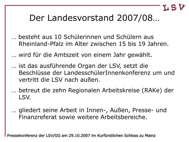 Pressekonferenz der LSV/GG am 29.10.2007 im Kurfürstlichen Schloss zu Mainz