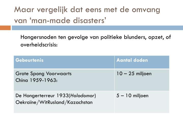 Maar vergelijk dat eens met de omvang van 'man-made disasters'
