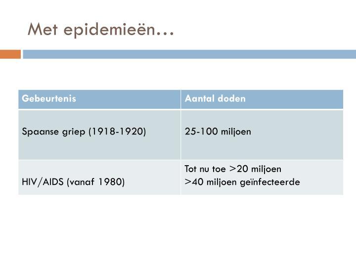 Met epidemieën…