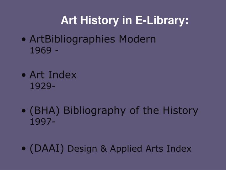 Art History in E-Library: