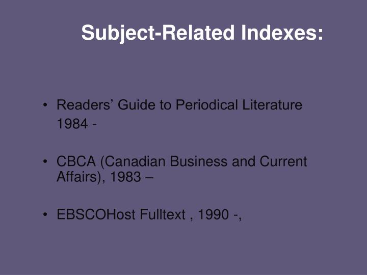 Subject-Related Indexes: