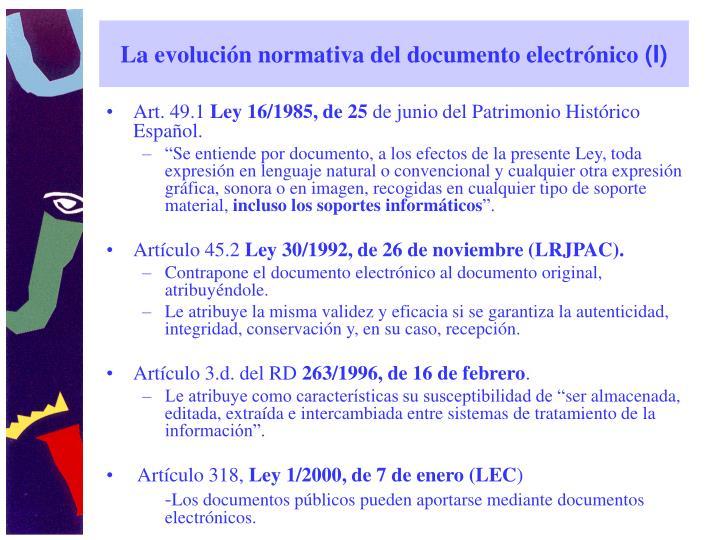 La evolución normativa del documento electrónico
