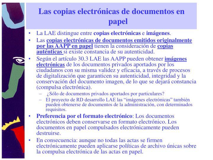 Las copias electrónicas de documentos en papel