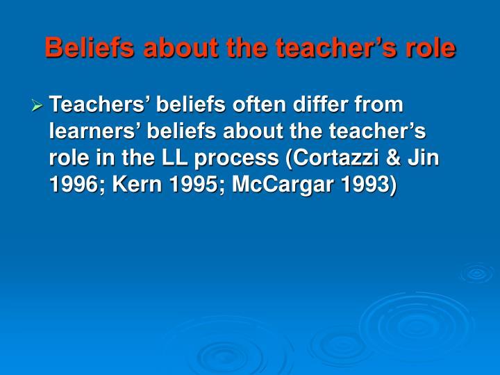 Beliefs about the teacher's role