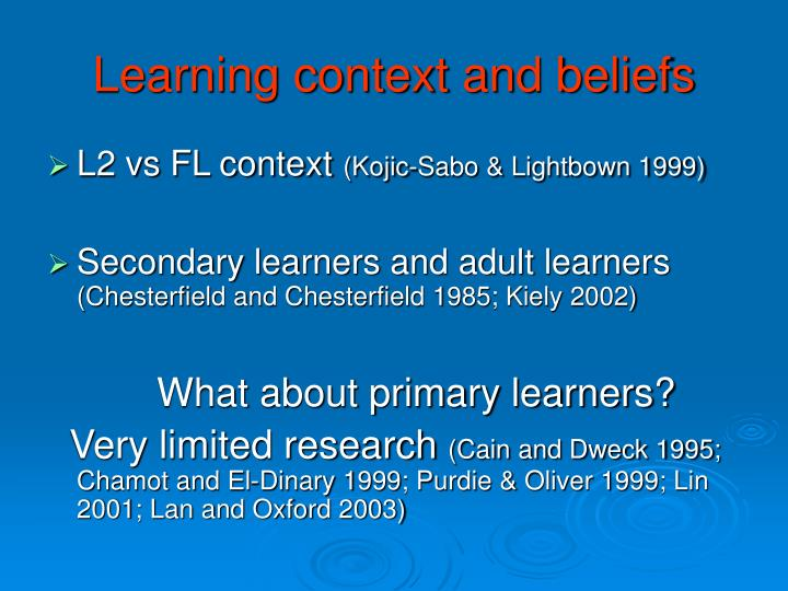 Learning context and beliefs