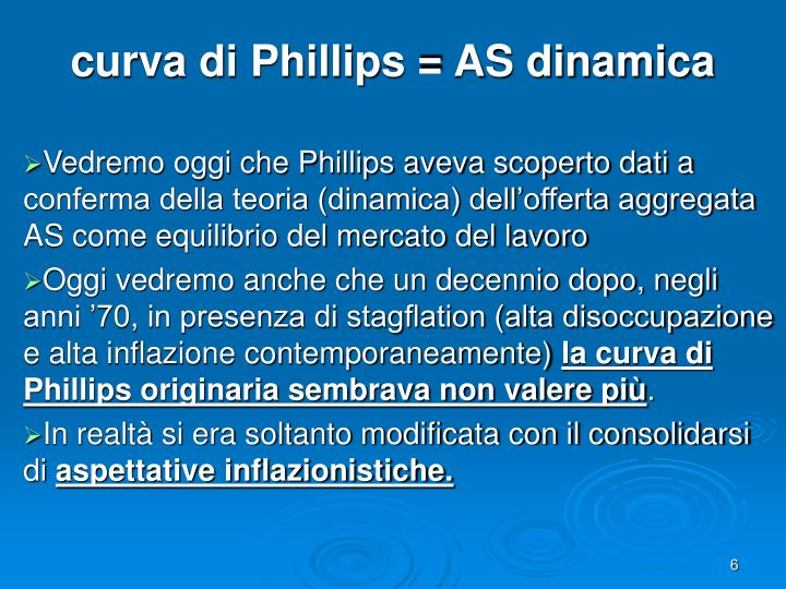 curva di Phillips = AS dinamica
