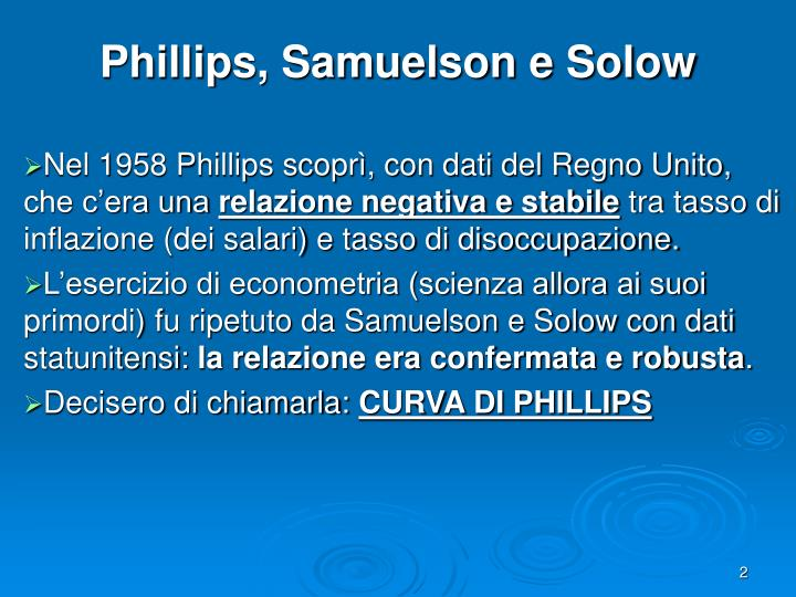 Phillips samuelson e solow