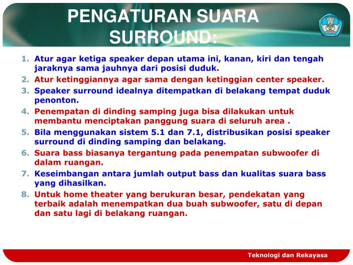 PENGATURAN SUARA SURROUND: