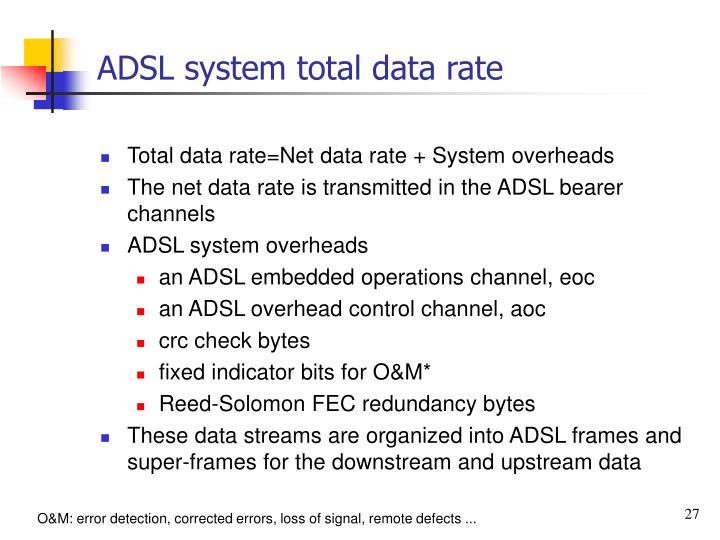 ADSL system total data rate
