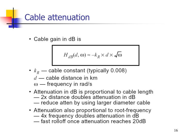 Cable attenuation