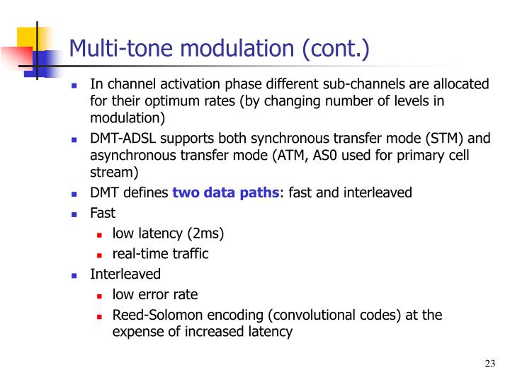 Multi-tone modulation (cont.)