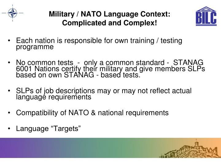 Military / NATO Language Context: