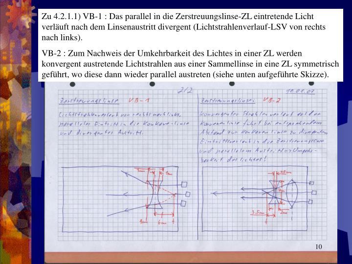 Zu 4.2.1.1) VB-1 : Das parallel in die Zerstreuungslinse-ZL eintretende Licht verläuft nach dem Linsenaustritt divergent (Lichtstrahlenverlauf-LSV von rechts nach links).