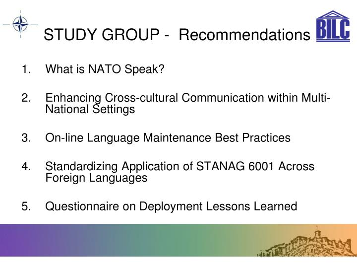 STUDY GROUP -  Recommendations