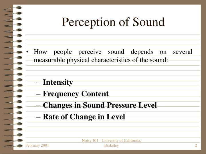 Perception of Sound