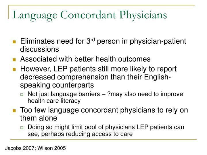 Language Concordant Physicians