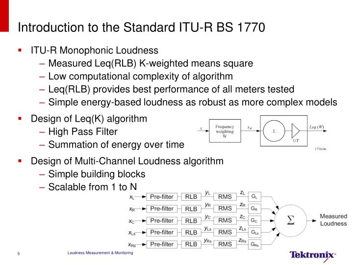 Introduction to the Standard ITU-R BS 1770