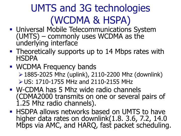 UMTS and 3G technologies