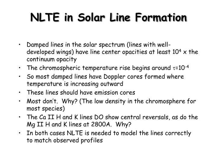 NLTE in Solar Line Formation