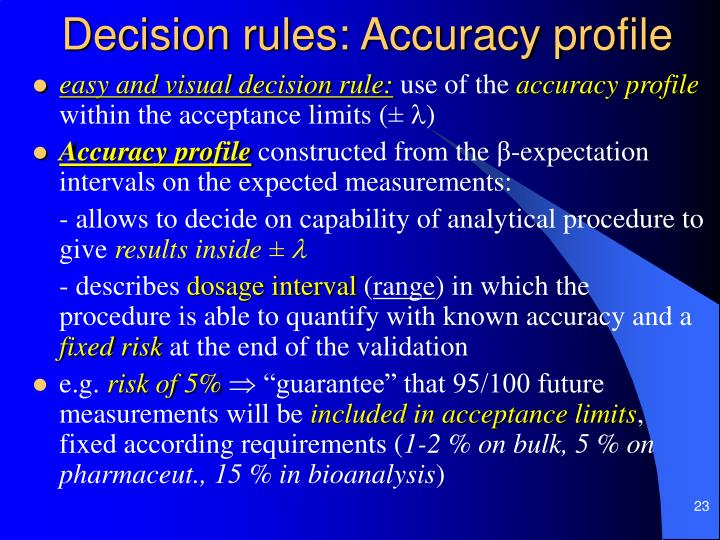 Decision rules: Accuracy profile