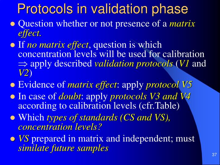 Protocols in validation phase