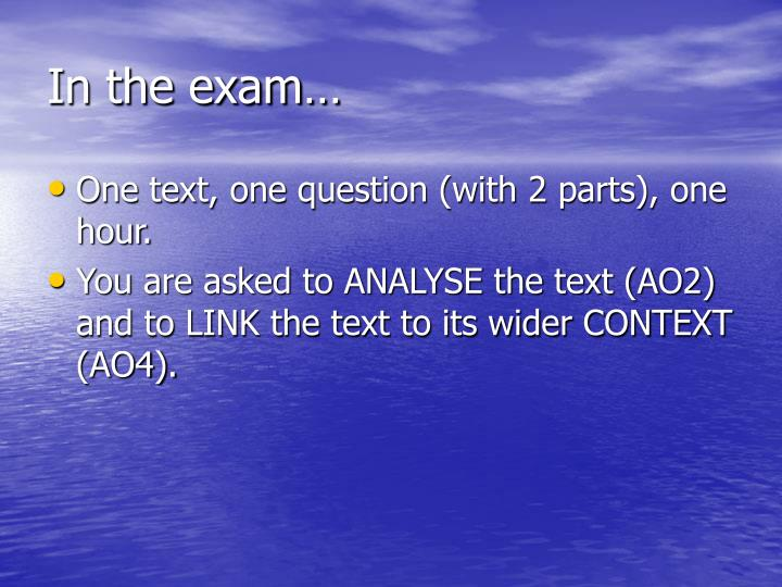 In the exam…