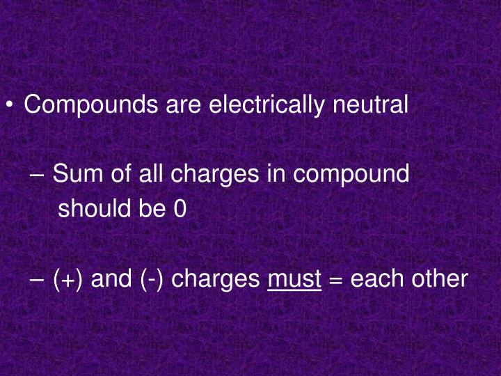 Compounds are electrically neutral