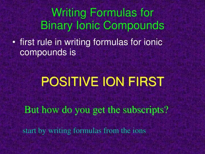 Writing Formulas for