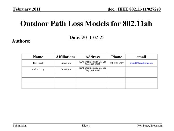 Outdoor path loss models for 802 11ah