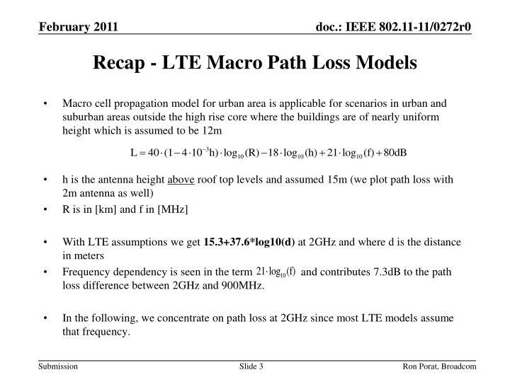 Recap - LTE Macro Path Loss Models