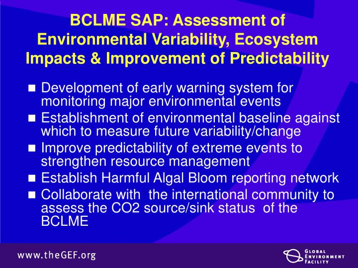 BCLME SAP: Assessment of Environmental Variability, Ecosystem Impacts & Improvement of Predictability