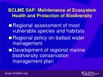 bclme sap maintenance of ecosystem health and protection of biodiversity