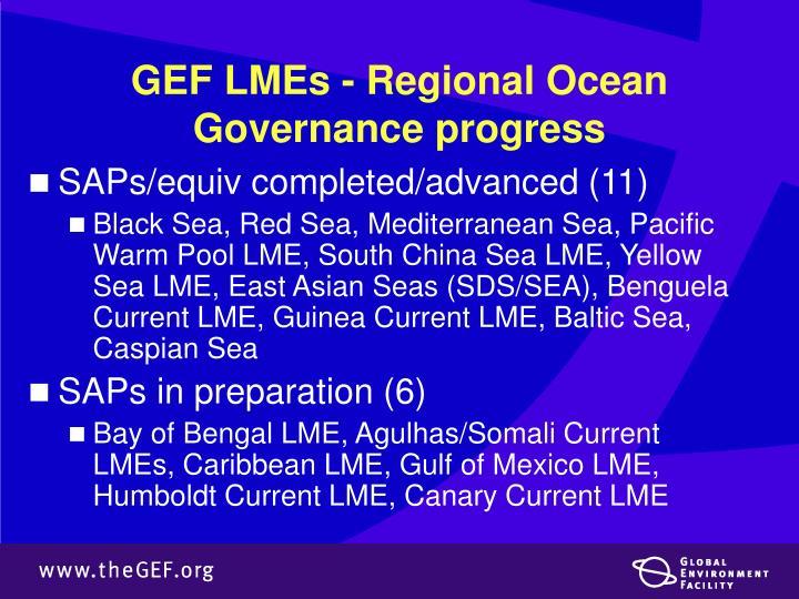 GEF LMEs - Regional Ocean Governance progress