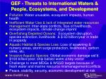 gef threats to international waters people ecosystems and development