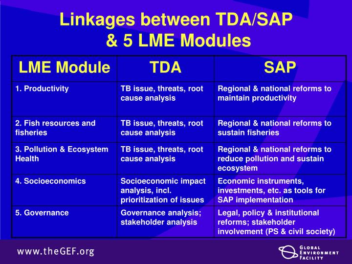 Linkages between TDA/SAP