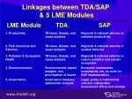 linkages between tda sap 5 lme modules