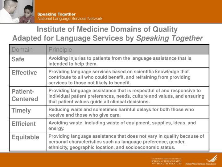 Institute of Medicine Domains of Quality