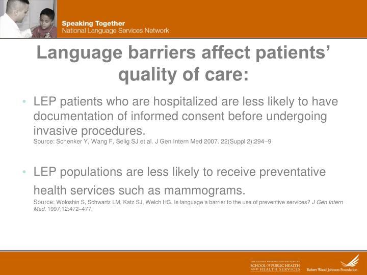 Language barriers affect patients'