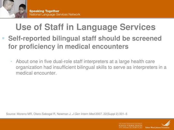 Use of Staff in Language Services