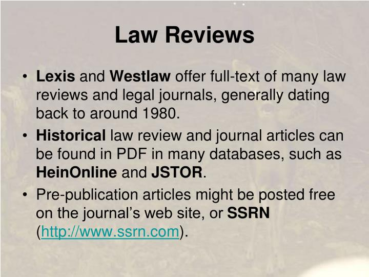 Law Reviews